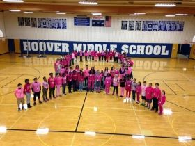 Hoover Middle School Students Form a Ribbon in Support of Breast Cancer Research